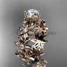 14k rose gold diamond floral engagement ring Moissanite ADLR339