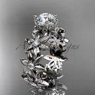Platinum diamond floral engagement ring Moissanite ADLR339