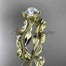 14k yellow gold diamond leaf,vine wedding band,engagement ring ADLR342