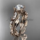 14k rose gold diamond wedding band,engagement ring Moissanite ADLR342