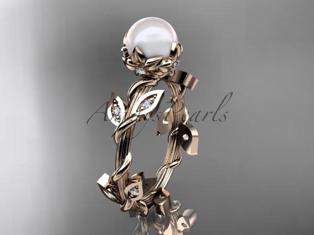 14kt rose gold diamond leaf and vine, floral pearl wedding ring, engagement ring AP20
