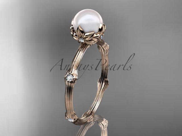 14k rose gold diamond pearl vine and leaf engagement ring AP38