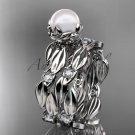 Platinum diamond pearl vine and leaf engagement set AP58S