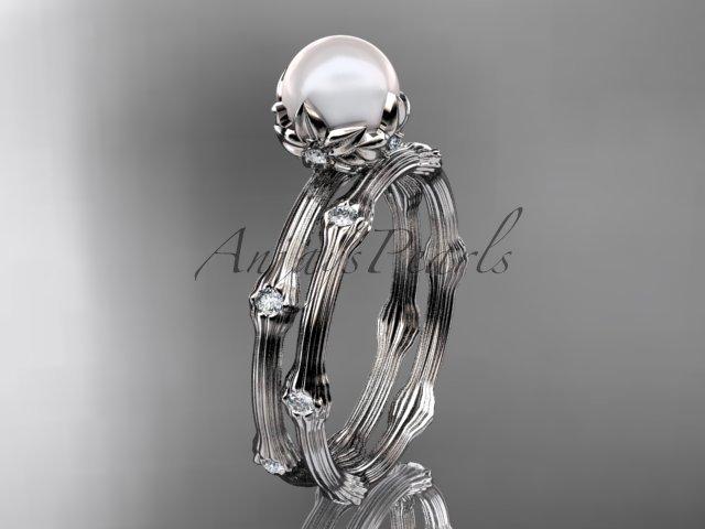 14k white gold diamond pearl vine and leaf engagement set AP38S