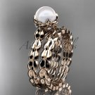 14kt rose gold diamond leaf and vine, floral pearl wedding set, engagement set AP35S