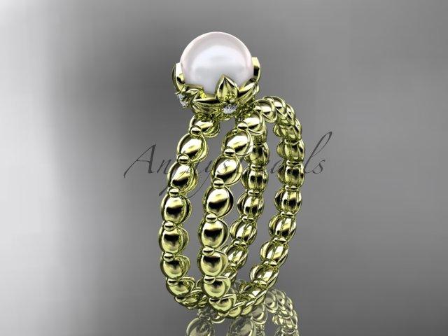 14kt yellow gold diamond leaf and vine, floral pearl wedding set, engagement set AP34S