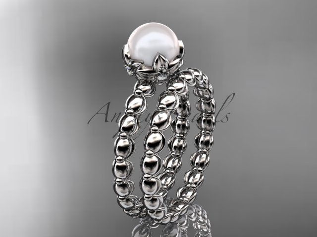 Platinum diamond leaf and vine, floral pearl wedding set, engagement set AP34S