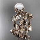 14kt rose gold diamond leaf and vine, floral pearl wedding set, engagement set AP20S