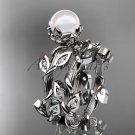 Platinum diamond leaf and vine, floral pearl wedding set, engagement set AP20S