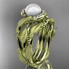 14k yellow gold diamond pearl vine and leaf engagement set AP65S