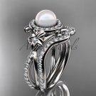 Platinum diamond pearl vine and leaf engagement set AP89S