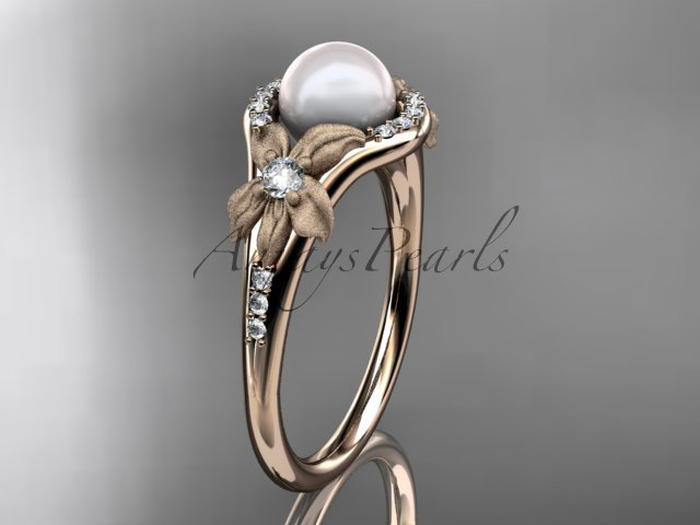 14k rose gold diamond pearl vine and leaf engagement ring AP91