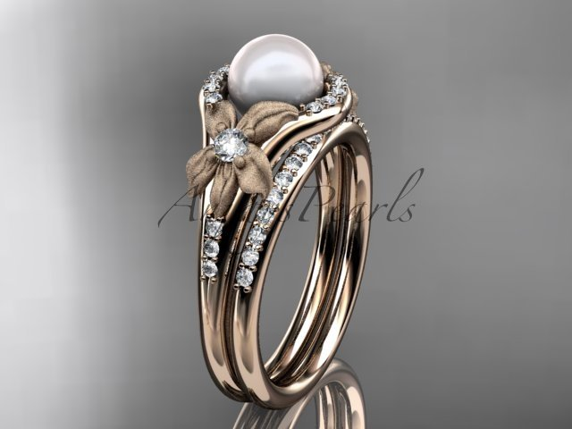 14k rose gold diamond pearl vine and leaf engagement set AP91S