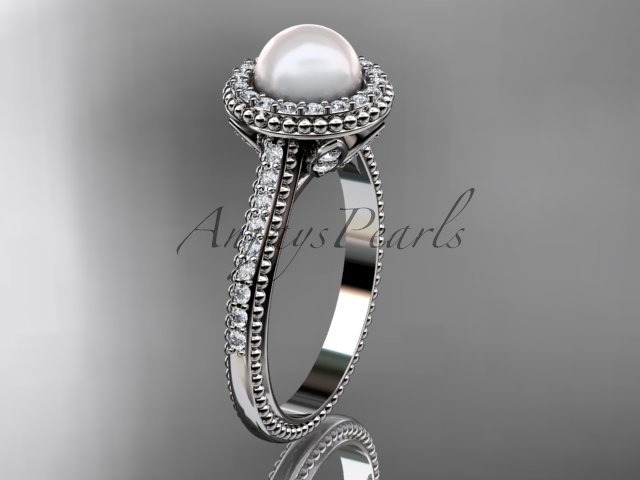 14k white gold diamond pearl vine and leaf engagement ring AP101