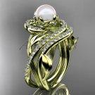 14kt yellow gold diamond pearl unique engagement set AP222S