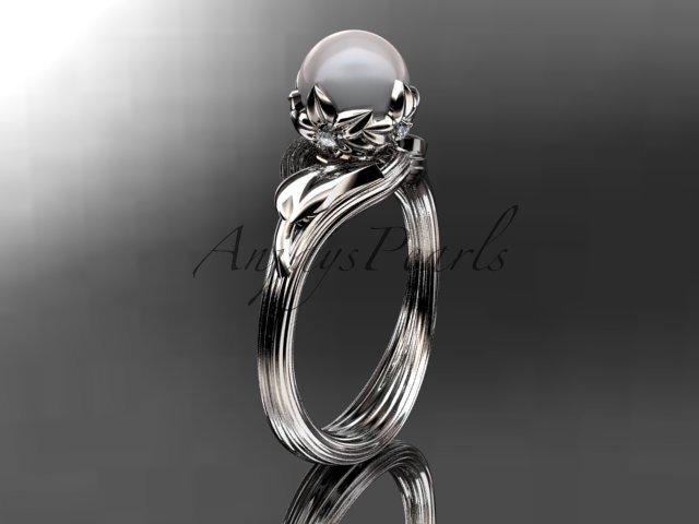Platinum diamond pearl flower, leaf and vine engagement ring AP240