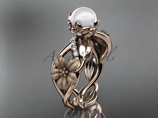 Unique 14kt rose gold diamond floral leaf and vine wedding ring,engagement ring AP270