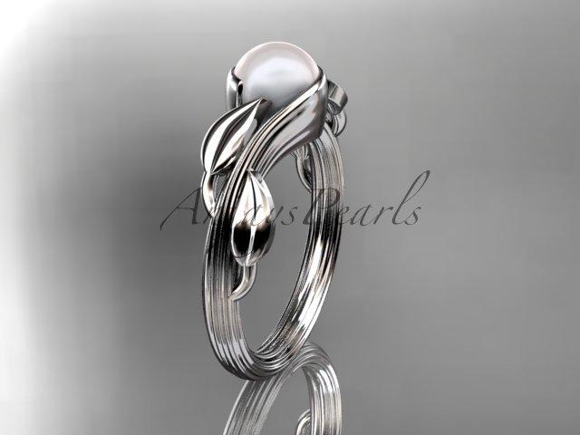 Platinum pearl leaf and vine engagement ring AP273
