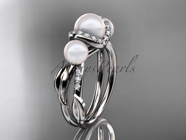 14k white gold diamond pearl engagement ring AP274