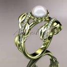 14kt yellow gold diamond pearl engagement ring AP287