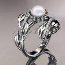 Platinum diamond pearl engagement ring AP287