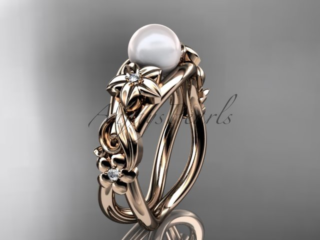 Unique 14kt rose gold diamond floral pearl engagement ring AP302