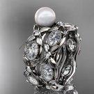 Platinum diamond pearl unique engagement ring, wedding ring AP152S