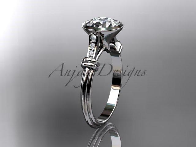 14k white gold diamond leaf,vine wedding ring,engagement ring ADLR23