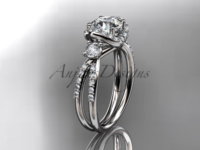 14kt white gold diamond unique engagement ring, wedding ring ADER146