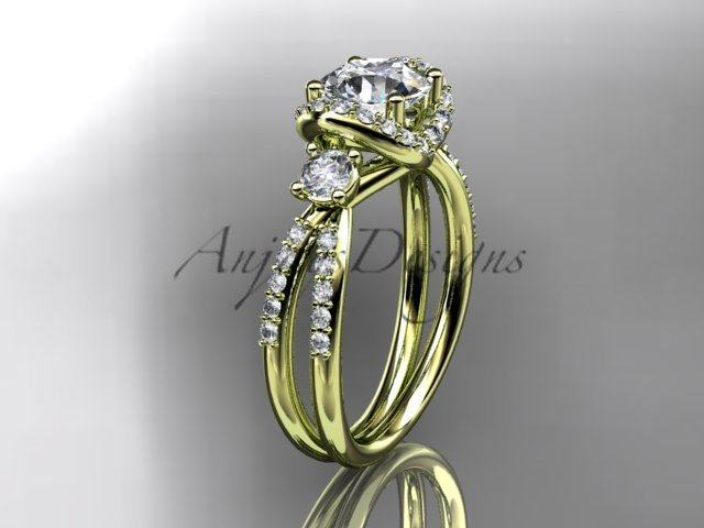 """14kt yellow gold diamond engagement ring with a """"Forever Brilliant"""" Moissanite center stone ADER146"""