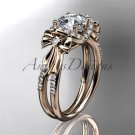 14kt rose gold diamond engagement ring with a Forever One Moissanite  center stone ADER155