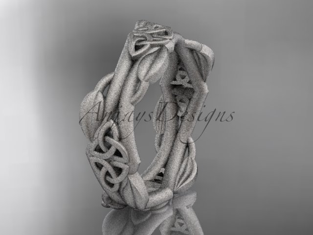 Platinum celtic knot matte finish wedding band CT7354G