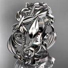 14k white gold leaf and vine,flower wedding ring,wedding band ADLR346G