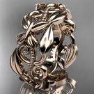 14k rose gold leaf and vine,flower wedding ring,wedding band ADLR346G
