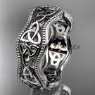 14kt white gold celtic trinity knot engagement ring, wedding band CT750B