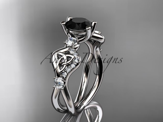 Platinum celtic trinity knot engagement ring with a Black Diamond center stone CT768