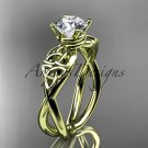 14kt yellow gold celtic trinity knot engagement ring with a Moissanite center stone CT770