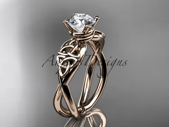 14kt rose gold celtic trinity knot engagement ring with a Moissanite center stone CT770