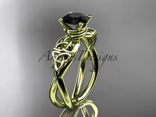 14kt yellow gold celtic trinity knot engagement ring with a Black Diamond center stone CT770