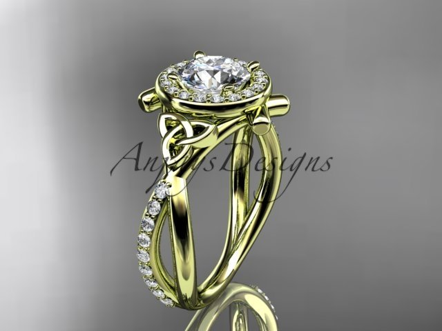 14kt yellow gold celtic trinity knot engagement ring with a  Moissanite center stone CT789