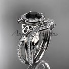 Platinum celtic trinity knot engagement set with a Black Diamond center stone CT789S