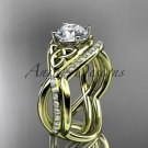 14kt yellow gold celtic trinity knot engagement ring, wedding ring with double matching band CT790S