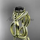14kt yellow gold celtic trinity knot engagement set with a Black Diamond center stone CT790S