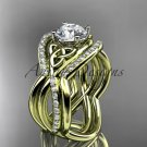 14kt yellow gold celtic trinity knot engagement ring with a Moissanite center stone CT790S