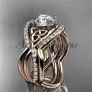 14kt rose gold celtic trinity knot engagement ring with a Moissanite center stone CT790S