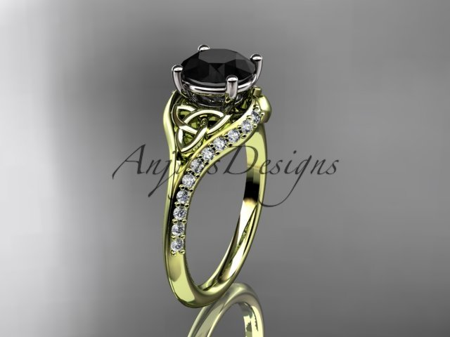 14kt yellow gold diamond celtic trinity knot engagement ring with a Black Diamond center stoneCT7125