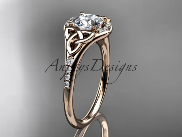 14kt rose gold diamond celtic trinity knot engagement ring with a Moissanite center stone CT7126