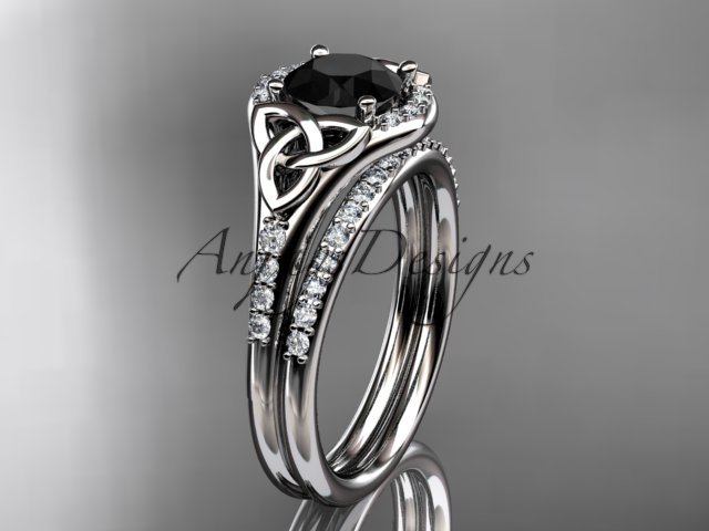 14kt white gold diamond celtic trinity knot engagement set with a Black Diamond center stone CT7126S