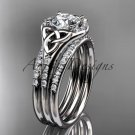 14kt white gold diamond celtic trinity knot engagement ring with a double matching band CT7126S