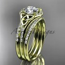14kt yellow gold diamond celtic trinity knot engagement ring with a double matching band CT7126S